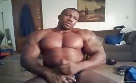 huge muscular black guy jerking and shooting a huge load