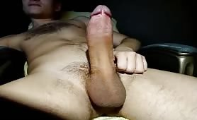 Horny young hairy guy shooting a huge load