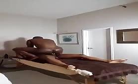 Sucking and barebacking on the massage bench..