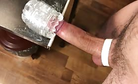 Moaning amateur guy slowly fucking a fleshlight and shoots a huge load