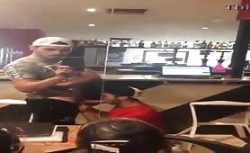 Blowing a big uncut dick at the bar