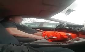 Horny muscular fireman wanking his cock before work in the car