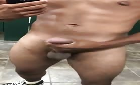 I decided to wank my cock in a public toilet