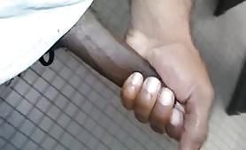 Caught stroking in gym bathroom