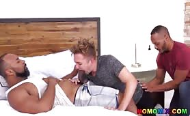 Horny black landlords makes a twink dude moan in pleasure