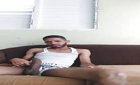 Hot guy with huge cock cums on the couch - Pornhubcom