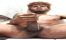 Cute jamaican dude having a huge orgasm