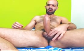 Mature hairy guy showing his fat uncut cock on cam