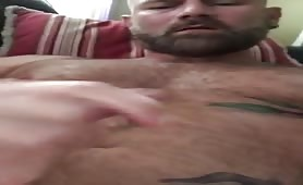 Hot hairy stud Jerks off and cums on his hairy chest