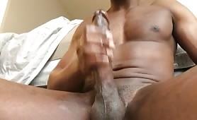 Hot fit nigga wanks his monster cock