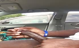 Nigga caught Stroking his huge cock in a parking lot