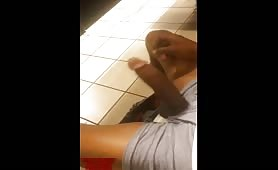 Horny thug loves wanking his cock in public toilets