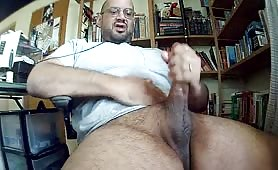 Huge cock daddy shoots a giant load on cam