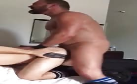 Young bottom screams when he gets fucked by a horny daddy