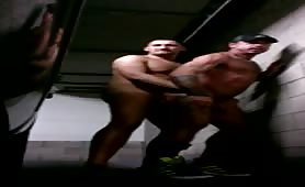 Raw naked fuck in a public garage
