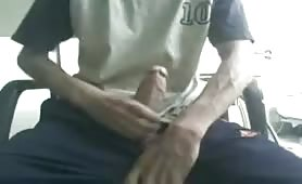 Young skinny dude stroking his fat uncut cock