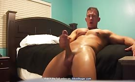 Cute tanned guy wanks his appetizing thick cock