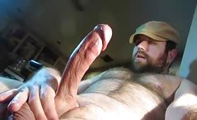 Bear shoots his load on his hairy tummy