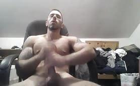 Beautiful stud stroking his big tasty cock