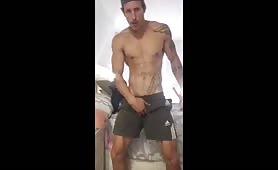 Tattooed verbal hunk doing a solo show