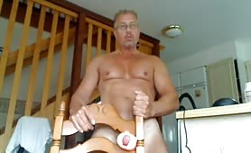 Mature guy gets ready to fuck his fleshlight toy
