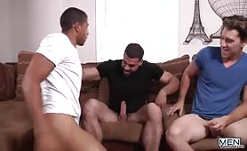 Threesome of gorgeous studs enjoy getting fucked