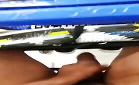 Horny black dude stroking his cock in a supermarket