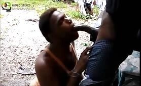 Homeless sucks a thug's cock on the street for money