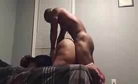 Muscular nigga busting a big fat slut ass