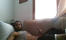 Handsome black dude caught jerking off by his wife webcam