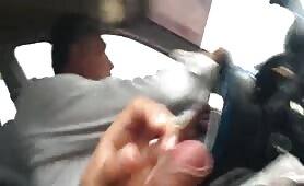 Masturbating next to the taxi driver