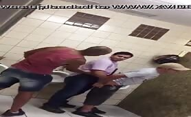 Spying on some horny guys fucking in a public toilet