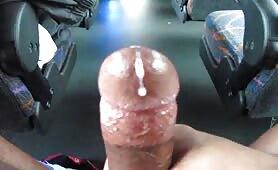 Masturbating naked in a public bus