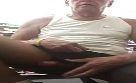 Horny mature guy exposing his cock in a pharmacy