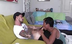 asian sucks a white macho guy