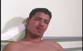 gorgeous str8 latino with huge cock gets blowjob from a american dude for money
