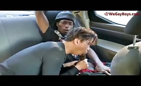 Black guy fucks asian dude in the car,,