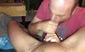 boyfriend sucking my hard cock and taking my load