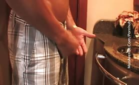 str8 hunk shows off and jerks off his huge dick out on boat